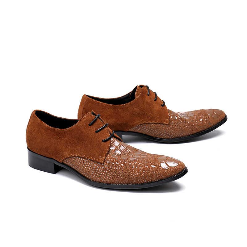 ผู้ชายใหม่ของแท้หนัง Stitchin gpointed Toe รองเท้าแฟชั่น LACE-up Oxford สำหรับ Office PARTY รองเท้าผู้ชายขนาด 38-46