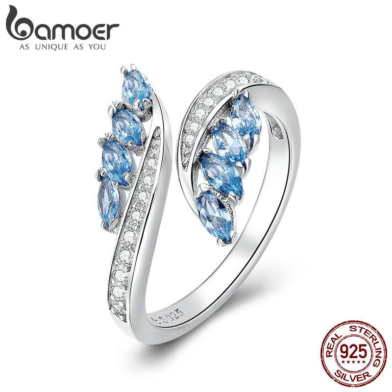 BAMOER Finger-Rings Jewelry Light-Blue Wedding-Engagement Butterfly-Shape 925-Sterling-Silver