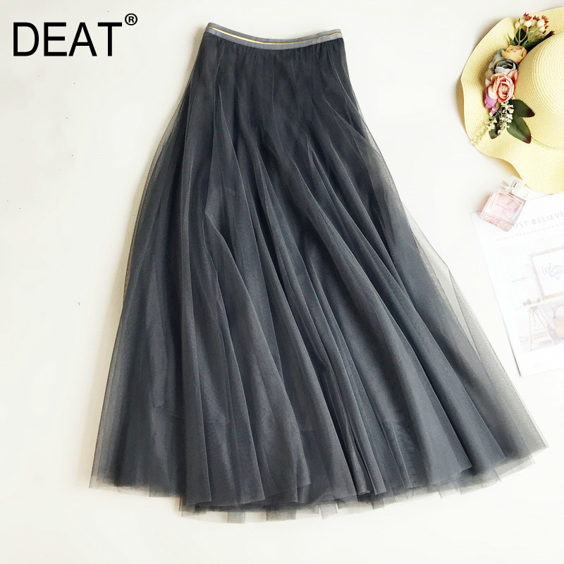 DEAT 2020 New Spring High Waist Solid Color Mesh Pleated Skirt Women Korean Loose Casual Ball Slim Fashion Skirt Female PD091