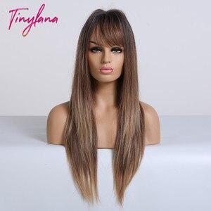 Image 3 - TINY LANA perruques synthétiques lisses longues avec frange, perruques ombrées noires brunes blondes et dorées résistantes à la chaleur pour femmes