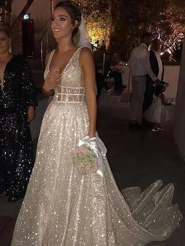 Image 4 - Long Dress For Evening Charming Deep V Neck A Line Floor Length Shiny Formal Dresses Custom Made Party Gowns HB005Evening Dresses   -