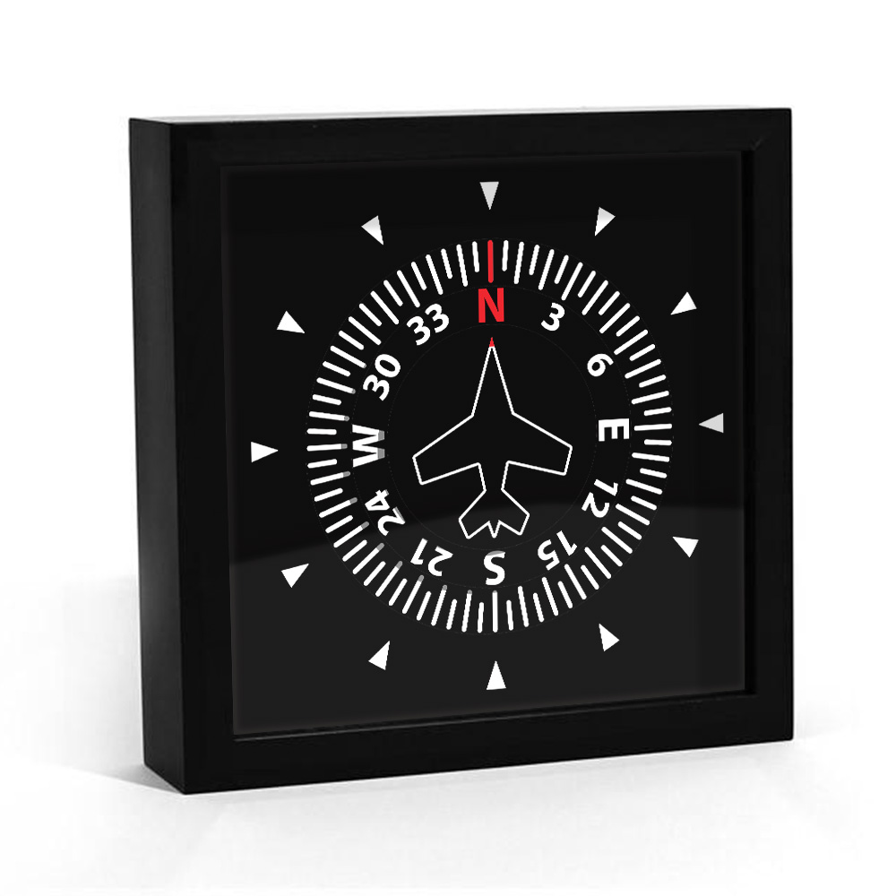 Aircraft Instrument Flight Control Panel Clever Clock Frame Aviation Compass Direction Modern Design Art Timepiece Table Clock Just6F