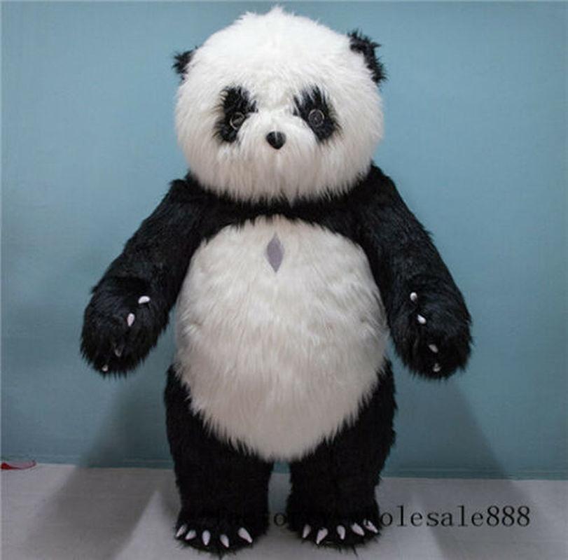 2019 adulte gonflable chinois Panda ours mascotte Costume en peluche Costume tenue fête anniversaire cadeaux nouvellement
