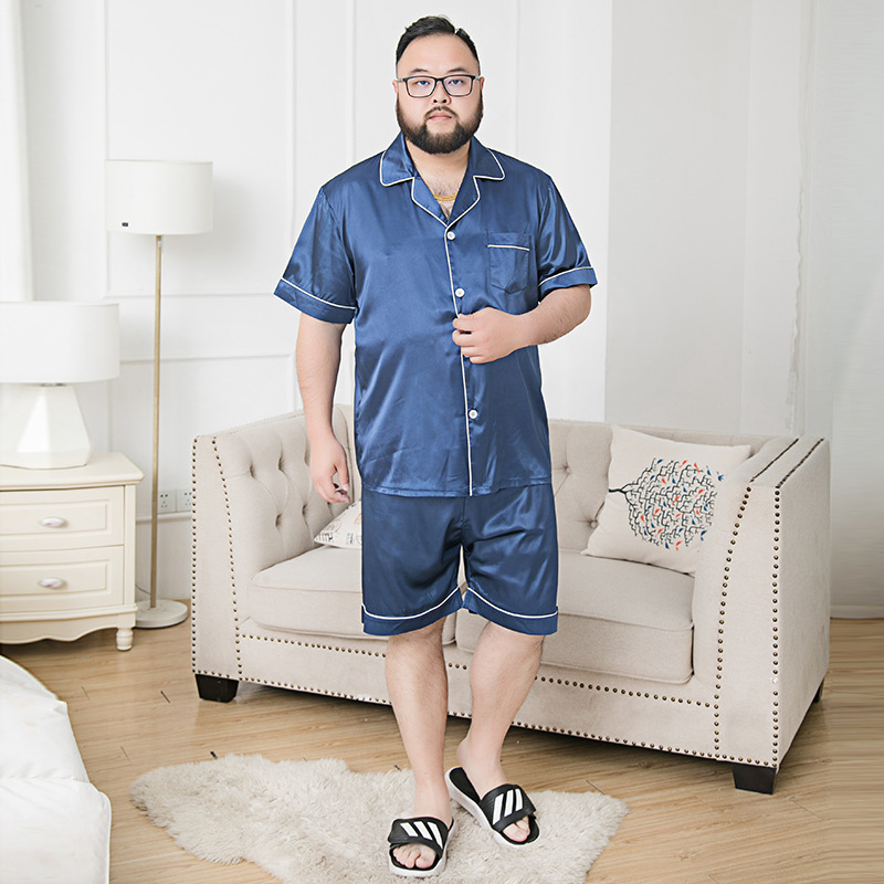 Men Silk Summer Sleepwear Stain Pajama Set Loose Night Wear Men Homewear Short Sleeve Pants Nightgrown for Men Big size 7XL