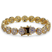 Fashion Rhinestone Natural Zircon Metal Chain Bracelet Mens Hip Hop Wind Jewelry Alloy Material Gold and Silver Ladies DIY