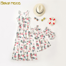 Mom And Daughter Dress Mommy Me Clothes Floral Family Look Mother Dresses Baby Girl Romper Matching