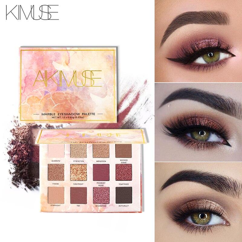 KIMUSE 12 Farben Shimmer Lidschatten Palette Giltter Schatten Palette Diamant Augen Make-Up Wasserdicht Lange anhaltende Augen Kosmetik