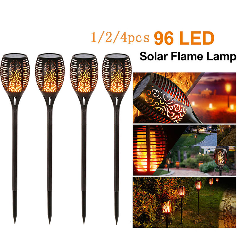 1/2/3/4Pcs 96 LED Solar Flame Lamp IP65 Waterproof For Garden Landscape Decor Garden Lawn  Light Landscape Lights
