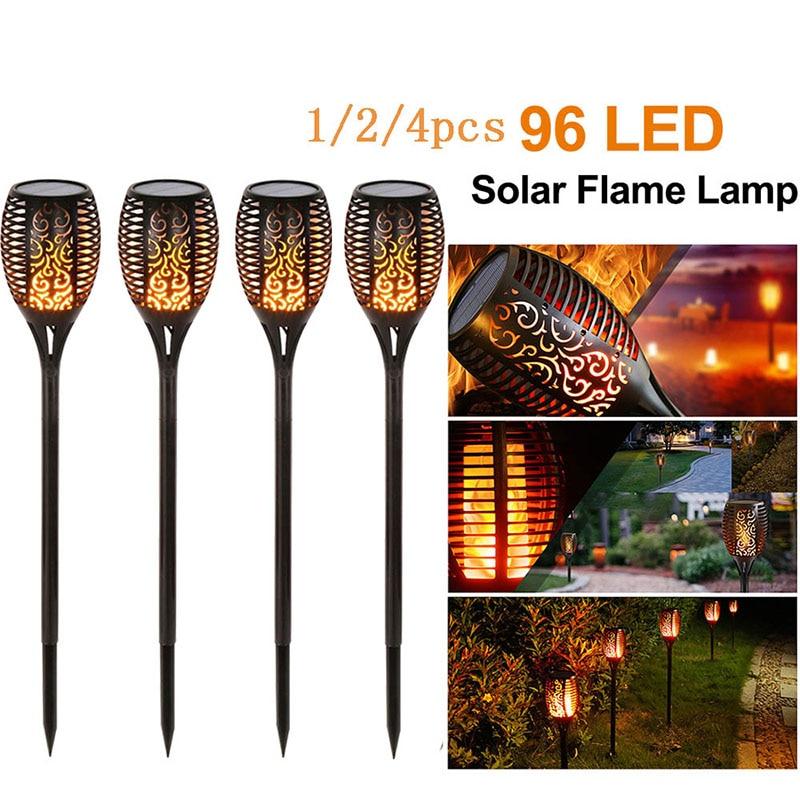 1/2/3/4Pcs 96 LED Solar Flame Lamp IP65 Waterproof For Garden Landscape Decor Garden Lawn Torch Light Landscape Lights