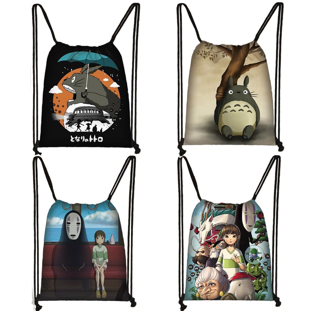 Cartoon Totoro / Spirited Away Drawstring Bag Women Storage Bags Ladies Shipping Bag Fashion Canvas Backpack Girls Travel Bag