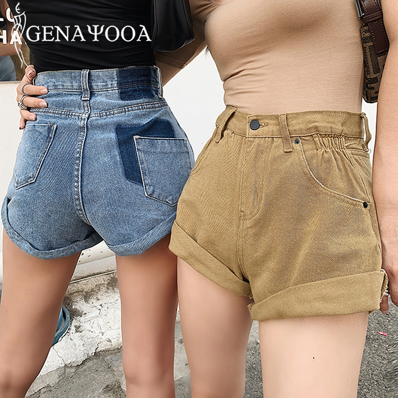 Genayooa 2020 Korean  Women Shorts High Waist Shorts Jeans Demin With Pocket Casual Wide Leg Denim Shorts Summer Streetwear Hot