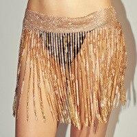 Sexy ladies waistband Nightclub super flash body chain Fashion wild rhinestone full rhinestone tassel ladies waist chain