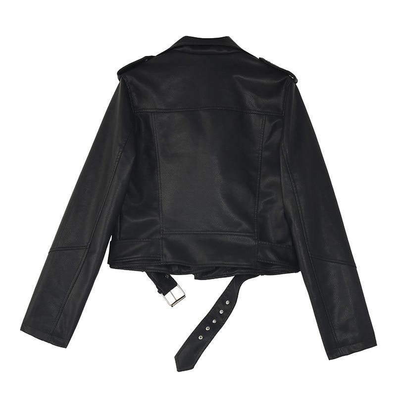 [EAM] Loose Fit Black Pu Leather Belt Short Jacket New Lapel Long Sleeve Women Coat Fashion Tide Spring Autumn 2020 1Z558 2