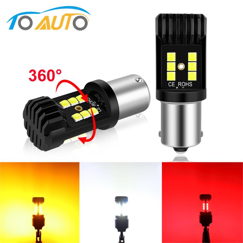 2pcs 1156 BA15S BAU15S 1157 BAY15D T20 7443 Led P21W PY21W P21/5W W21/5W LED Bulb Car Signal Lights Reverse Brake Auto Lamp 12V