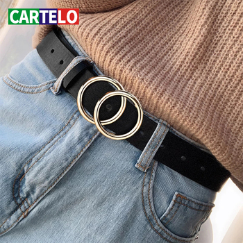 CARTELO Designer's famous brand leatherhigh quality belt fashion alloy double ring circle buckle girl jeans dress wild belts