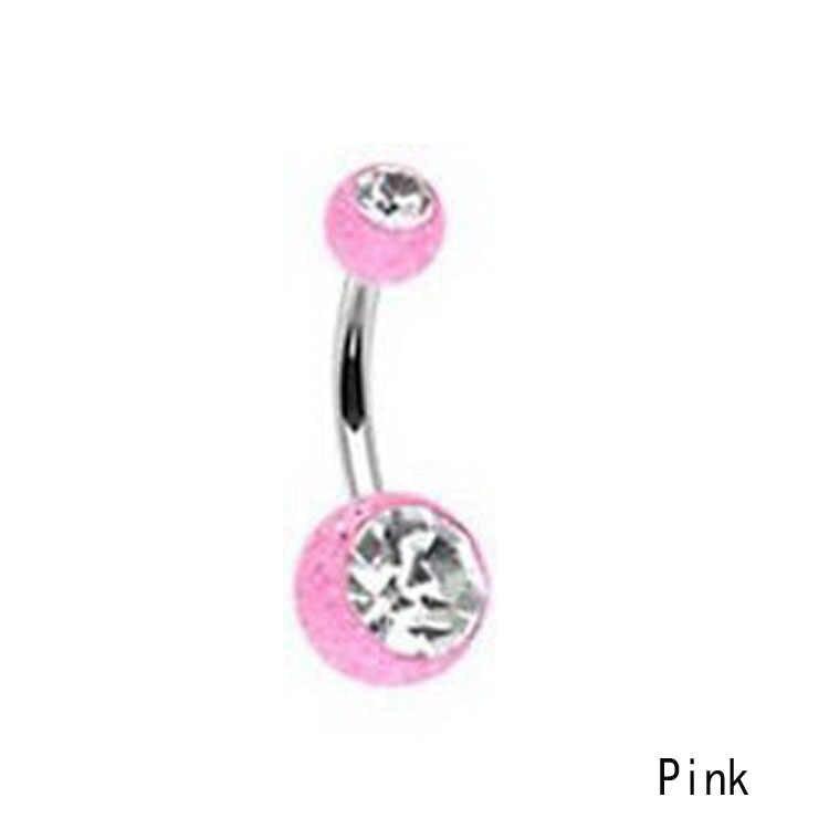 Charming Body Piercing เครื่องประดับเหล็ก Rhinestones ฝัง Barbell Sequins Ball Navel Belly Bar แหวน