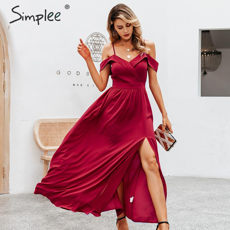 Simplee Sexy Off Shoulder Maxi Dress Elegant V-neck Braces Long Party Dress Ladies High Waist Autumn Red Evening Party Dress