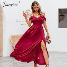 Simplee seksi kapalı omuz maxi elbise zarif v yaka parantez uzun parti elbise bayanlar yüksek bel sonbahar kırmızı akşam parti elbise