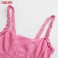 Tangada Summer Women Solid Pink Backless Mini Dress Strap Adjust Sleeveless 2021 Fashion Lady Sundress 3H375 2