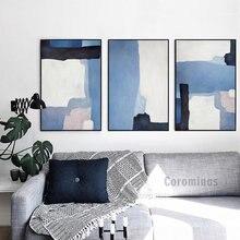 Винтажная абстрактная синяя Картина на холсте простые геометрические