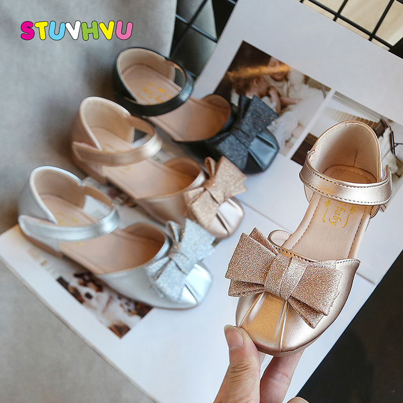 2020 New Children's Sandals Baby Girls Shoes Non-slip Leather Princess Shoes Summer Fashion Bow Kids Sandals Black Gold Silver