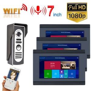 3 Монитора 7 дюймов проводной Wifi видео дверной звонок Домофон система входа с HD 1080P Проводная камера ночного видения