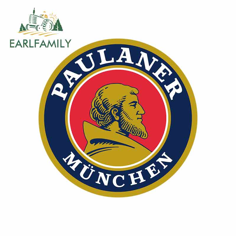 EARLFAMILY 13cm X 13cm For Paulaner Munchen Vinyl Decal Sticker Sunscreen Personality Car Creative Stickers Car Decoration