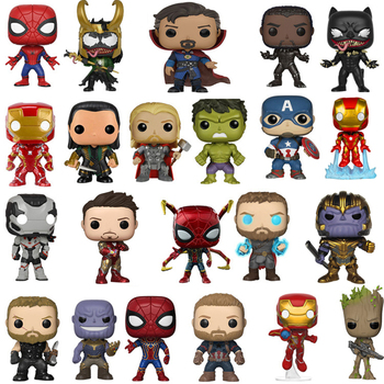 Funko POP Anime The Avengers Iron man &QUAKE Loki Black Panther Thanos Grootted Action Figure model toys for kids Xmas Gift