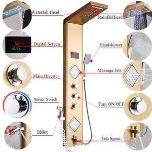 Image 3 - Uythner Luxury Gold/Black Bathroom Shower Faucet LED Shower Panel Column Bathtub Mixer Tap W/Hand Shower Temperature Screen