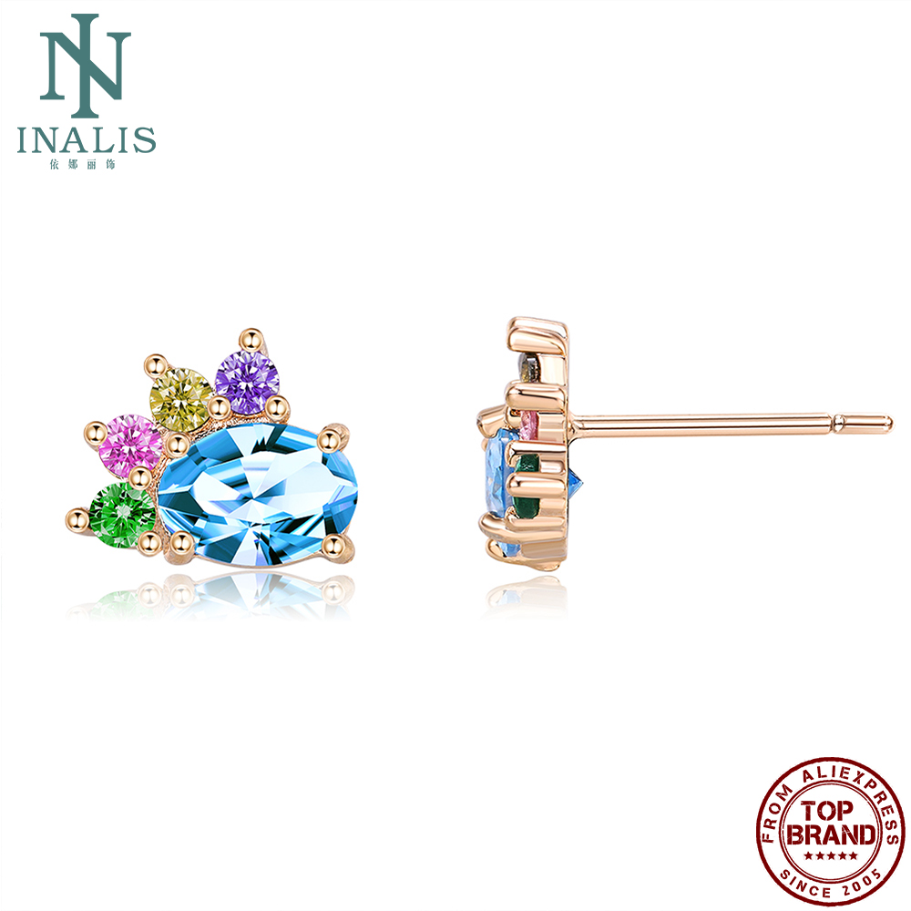 INALIS Stud Earrings Romantic Copper Champagne Gold Plated Colors Cubic Zirconia Earring For Women Anniversary Jewelry Hot Sale