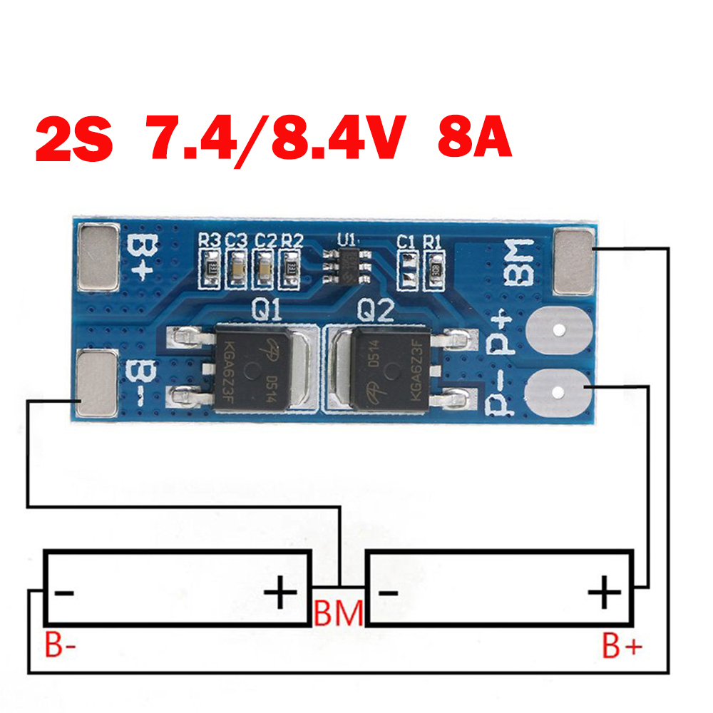 5 PCS/LOT 18650 BMS PCM 15A Peak Current Battery Protection Board 2S 8A Li-ion 7.4v 8.4V BMS For Li-ion Lipo Battery Cell Pack