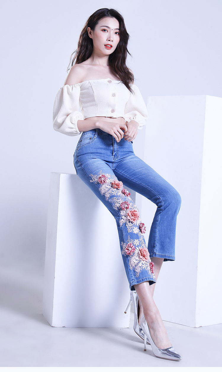 KSTUN FERZIGE women jeans cropped pants high stretch light blue spring and summer embroidery floral flares jeans mujer 2019 yong girls 12