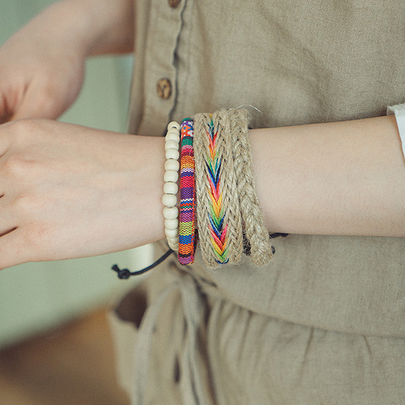 Handmade Bohemian charm stacked bracelet with multi-layer adjustable bracelet Colorful hemp rope woven bracelet