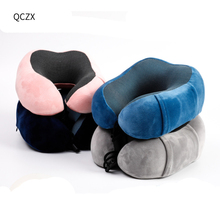 QCZX Adjustable Travel Pillow Set Pure Memory Foam U-shaped Airplane\Car\Bus Compact U-Shaped Neck Support D40