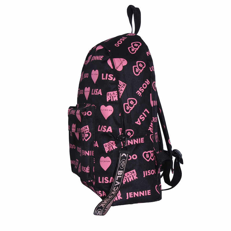 KPOP BLACKPINK Album Backpack LISA ROSE JENNIE JISOO Canvas Bag Package Anime Unisex Should Bags For Men And Women SJB937
