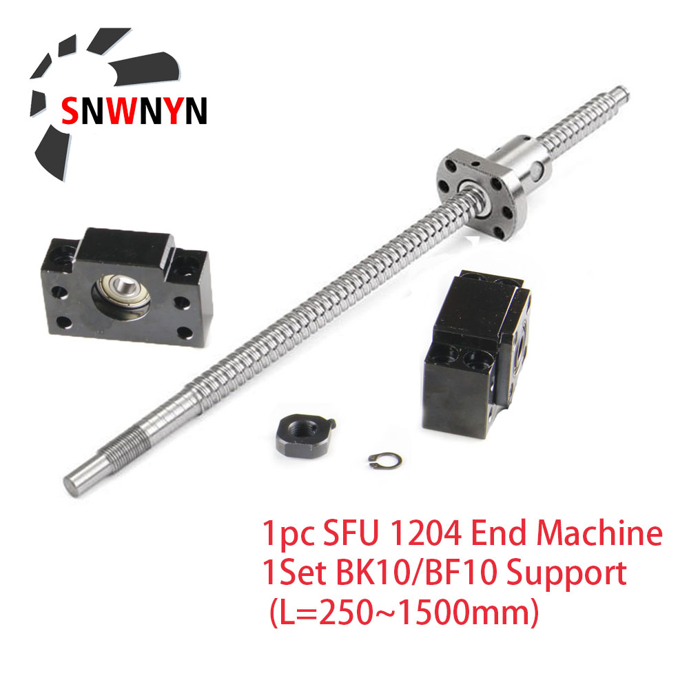 SFU1204 Ball Screw 250/300/350/400/450/500/550/600/650/800/1000mm C7 Grade With  End Machined +1204 Ball Nut +1Set BK10/BF10 CNC