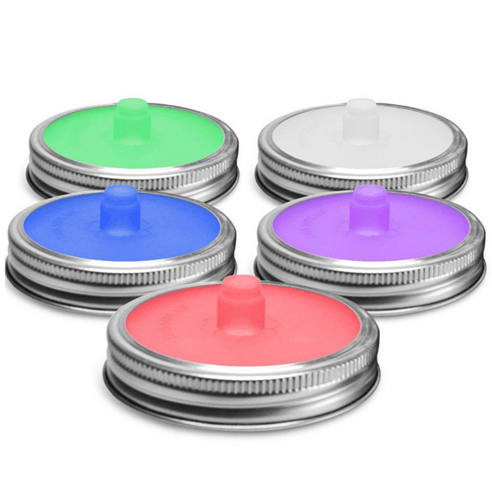 Kitchen Tool Wide Mouth Mason Jar Lids Silicone Lids With Sealed Ring Waterless Airlock Fermentation Lids For Sauerkraut Kimchi