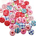 100 PCS 24L Colorful Wooden Button Mixed 2 hole Flower Natural Sewing children Buttons for scrapbooking Clothes Accessories