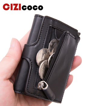 Pop-up RFID Black Wallet ID Card Case Men Button Credit Holder High Quality Metal Aluminum Auto Coin Purse - discount item  54% OFF Wallets & Holders