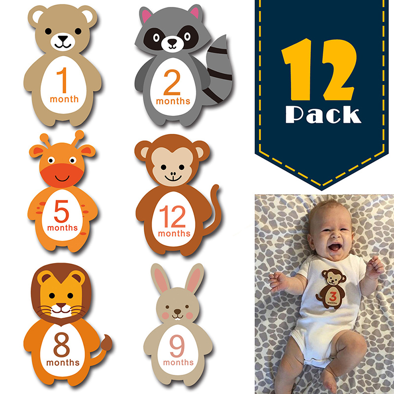12PCS Baby Monthly Milestone Sticker Baby Photography Props Photo Stickers Newborn Photo  Props Accessories