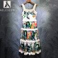 Aeleseen 2020 primavera nova pista floral pirnt bolo vestidos elegante cinta de espaguete estilo férias doce senhora borda renda midi vestido