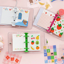 Creative Cute Mini Transparent Loose-leaf Notebooks Student Portable DIY 3 Ring Binder Hand Paper Note Book Planner Diary Supply
