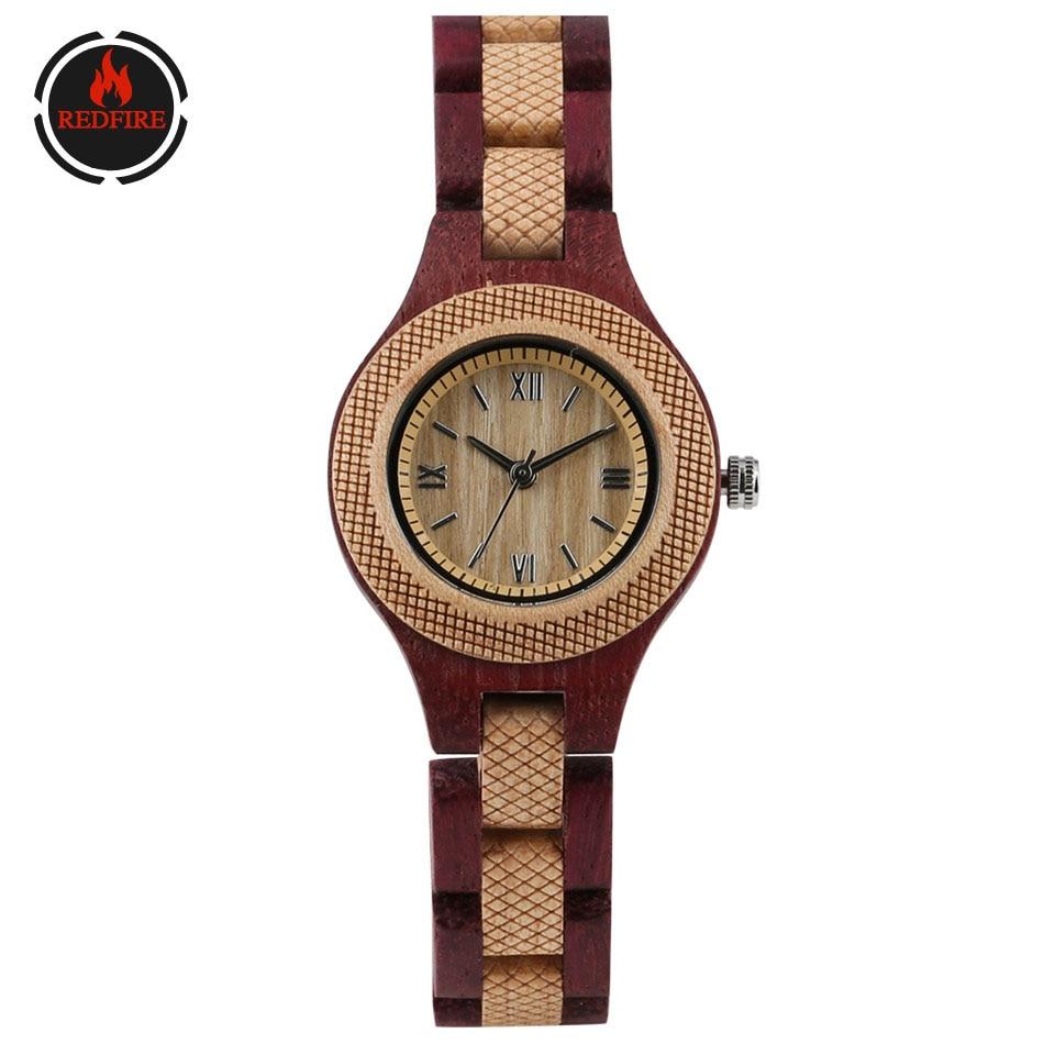 REDFIRE Vintage Women's Wood Watch Creative Wooden Bangle Watch Band Quartz Folding Clasp Ladies Wrist Watches Clock Gift Female