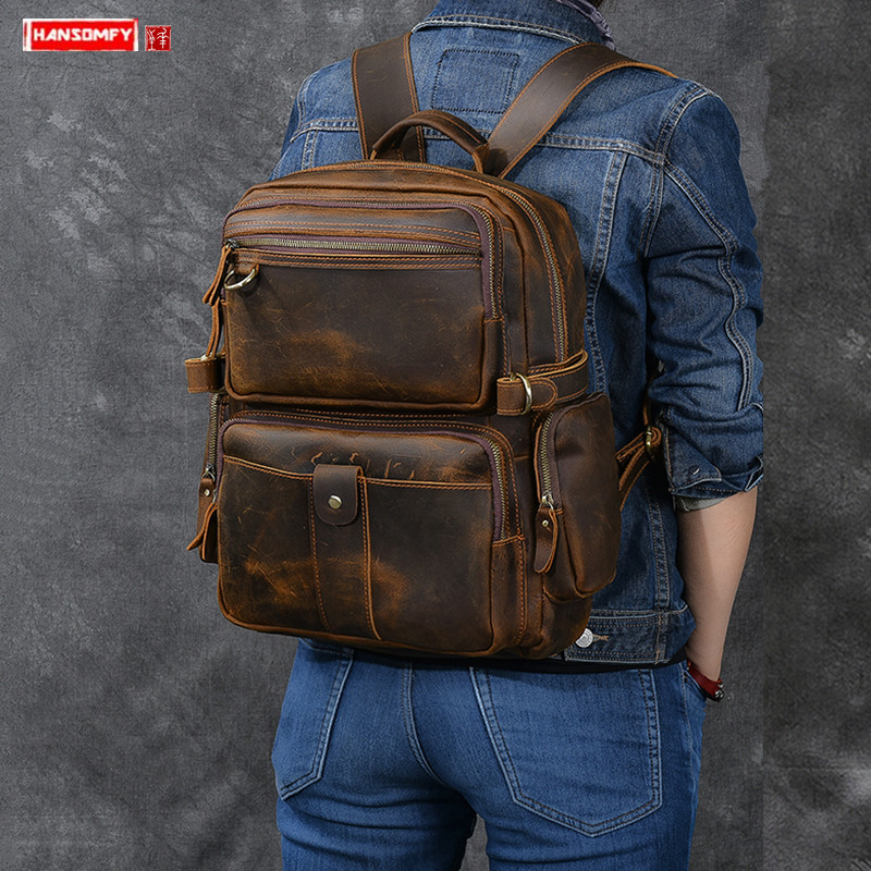 New retrò crazy horse di cuoio dello zaino degli uomini di multi tasca sacchetto di spalla degli uomini di cuoio larga cinturino in vera pelle di viaggio zaini