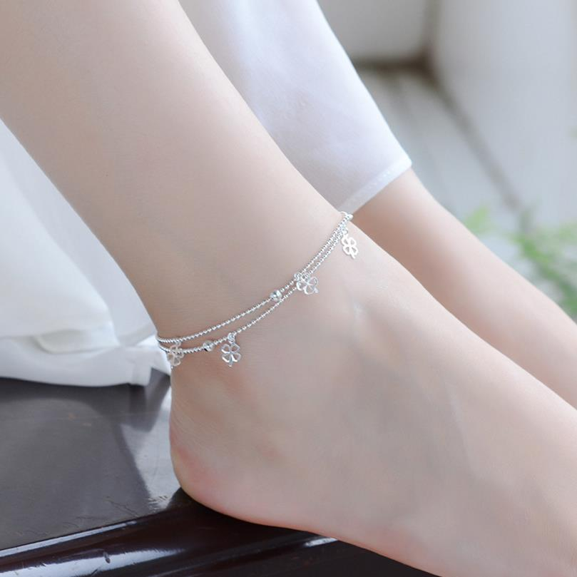 Trendy 925 Sterling Silver Anklets For Women Jewelry Vintage Clover Bracelet Female Accessories Girls Anklet Party Bijou