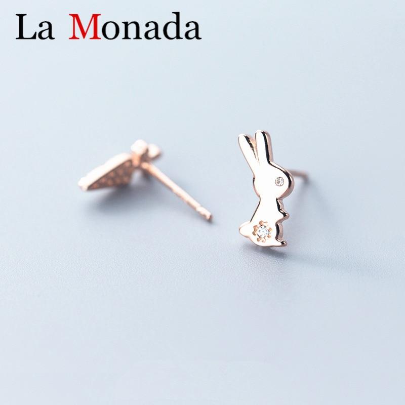 Sterling Silver Dainty Bunny Rabbit Ears Earring Studs for Girls