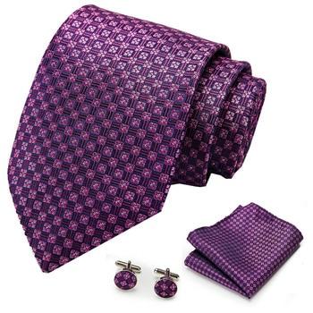 Mens Tie Purple 100% Silk Classic Jacquard Woven new brand Hanky Cufflink Set For Men Formal Wedding Party