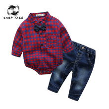 Newborns Clothes New Red Plaid Rompers Shirts+jeans Baby Boys Bebes Clothing Set 3-24 Months Newborn Boy