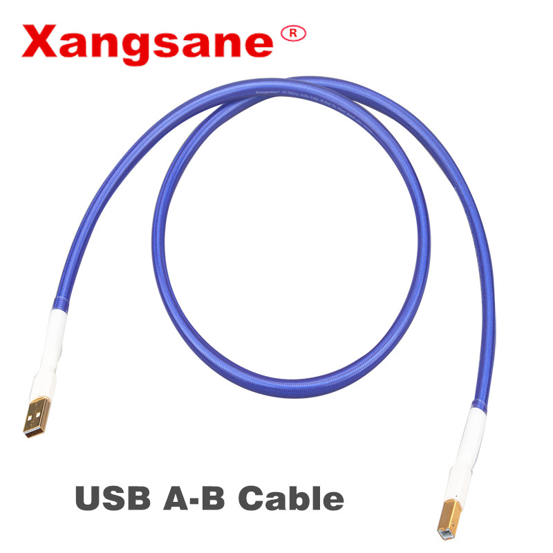 Xangsane single crystal copper silver-plated USB sound card line DAC data line square mouth A-B fever audio cable