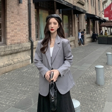 Stripe Korean Ladies Blazer Solid Gray Stylish Casual Loose Suit Jacket Long Sleeve Simple Retro Autumn Women Blazer New MM60NXZ